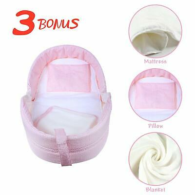 Newborn Pink Travel Cot Bed Set Foldable Baby Crib Portable Infant Bassinet Bags