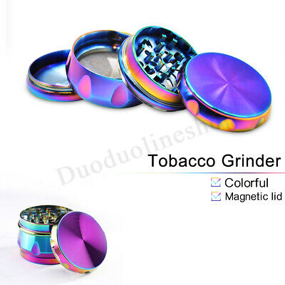63mm Metal Hand Herb GRINDER 4 Layers Rainbow Tobacco Smoke Muller Lid Pot Roll