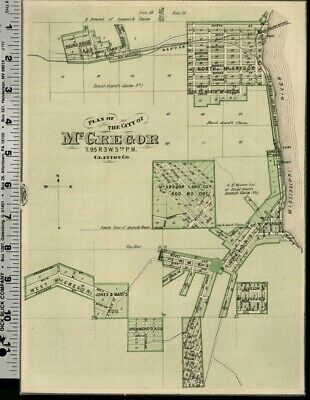 Mcgregor Iowa Street Map Plan Clayton County Authentic 1875