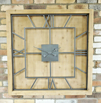 Extra Large Wooden Wall Clock 97cm Black Roman Numerals Vintage Antique Style