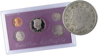 1989 S U.S Mint Proof Set with 1907 Liberty Head Nickel Good