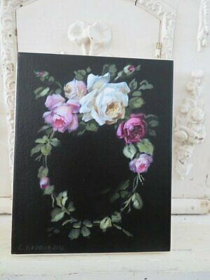 Gorgeous Christie REPASY CANVAS PRINT Wreath of White Pink Roses Black Bkgd
