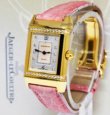 6d42ec3deabe Jaeger LeCoultre Reverso 18k Yellow Gold   Diamond Ladies Quartz Watch  265.1.08