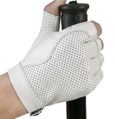 Women's Genuine Leather Gloves Fingerless Motorcycle Cycling Outdoor Driving