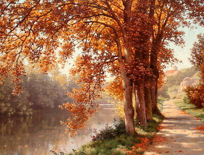 Art Canvas Print Autumn Scenery Landscape Oil painting Printed on canvas P477