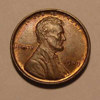 1909 VDB Lincoln Cent Penny - Red/Brown AU+ Condition - 1FR-2