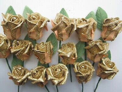 36 Wedding Flowers Rose and Diamante Buttonhole Corsage Groom Guest Best Man