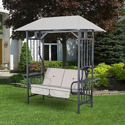 Garden Metal Swing Arbor Outdoor Comfort 2 Seater Hammock Patio Chair Canopy NEW