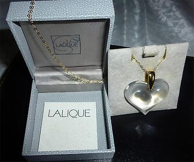 """Lalique Crystal Large  Heart Necklace & 18"""" Gold  Chain Stunning  -Investment"""