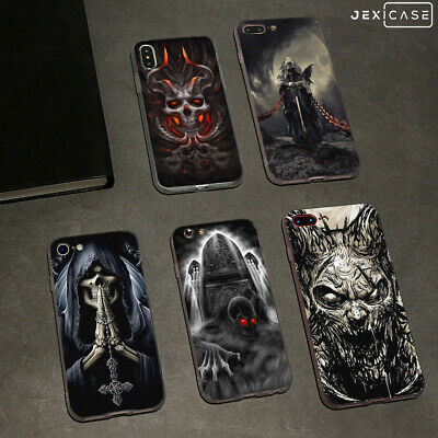 Horror Skull White Silicone Phone Case Cover For iPhone Xs Mas XR 6/7/8+ Samsung