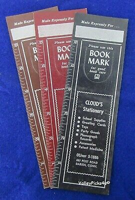 Lot 3 Vintage CLOUD'S Stationary School  Book Mark Marker Bookmarks Darien Conn