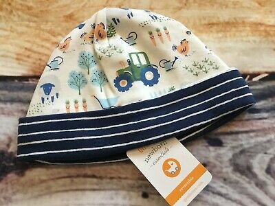Gymboree Little Farm Hat Baby Newborn Boy Essentials Chickens Sheep Tractor NWT
