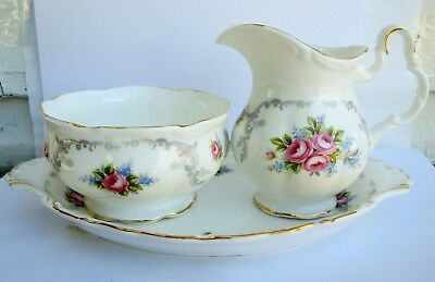 Vintage Royal Albert Tranquility Cream And Sugar Tray Excellent Condition