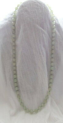 Vtg Antique Chinese Ice -Green Carved Beads Natural Jade Hand Knotted Necklace