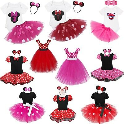 a14cb633e5db Kids Girls Baby Toddler Minnie Mouse Outfits Party Costume Tutu Dress +  Headband