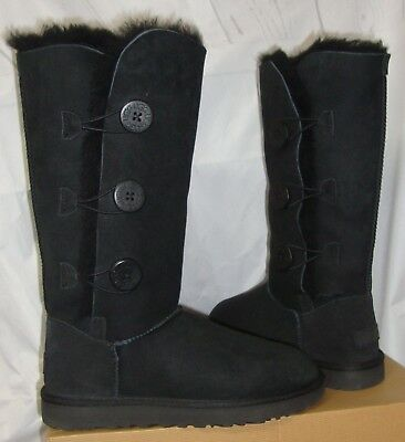 a95cca6fff0 UGG TALL TRIPLE Triplet Bailey Bow Black Suede Sheepskin Boots Size ...