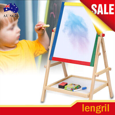 2 in 1 Child Kids Paint & Drawing Art Easel Chalk Chalkboard Dry Erase Board