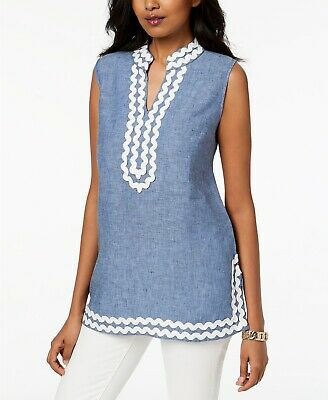 5c39d0a48db Charter Club Embroidered Linen Tunic Sleeveless Blouse - Blue Ocean - Small