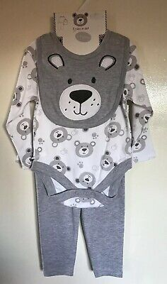 BNWT Baby Boys Grey & White Teddy Patterned 3 Piece Outfit. Age 6-9 Months