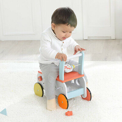 Baby First Steps Wooden Push Along Walker Toy Infant Mobility Learn Stand Riding