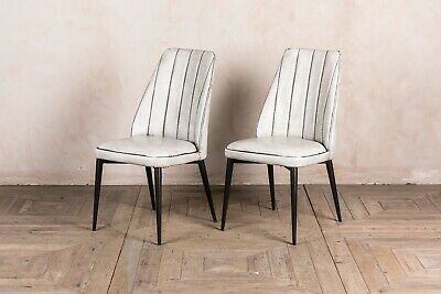 Pair Of White Faux Leather Upholstered Dining Chair Rib Stitched Modern Style