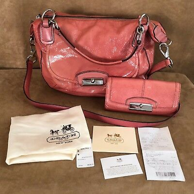 Coach Purse & Wallet 19297 Kristin pink Patent Leather Tote Bag convertible lot