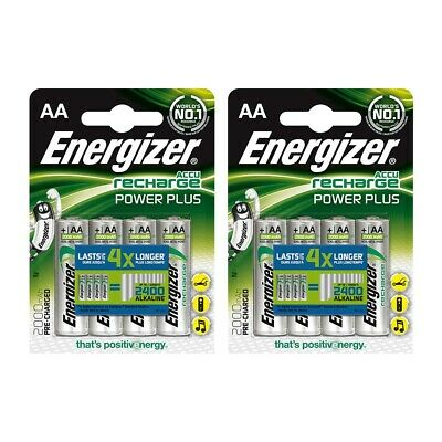 8x Energizer Accu AA Rechargeable Batteries NiMH Power Plus 2000mAh Capacity