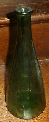 Mid Century Italy Empoli Art Glass Fluted Vertical Optic Green Decanter PO3
