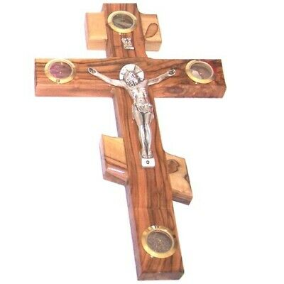 Olive wood Patriarchal three bar Crucifix with Holy Land samples. ( 25cm or 10