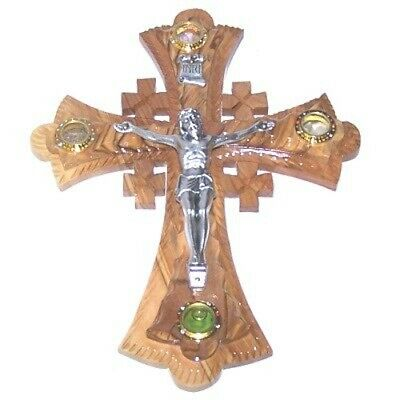 Two (2) layers of olivewood Crucifix with Holy Land samples - Essences