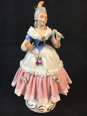 Antique Germany Meissen Dresden Lace Victorian Lady w/ Rose Figurine 5""