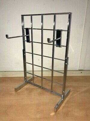 "Small Counter-Top Gridwall Mesh 12"" x 18"" Chrome Display Panel Accessory Stand"