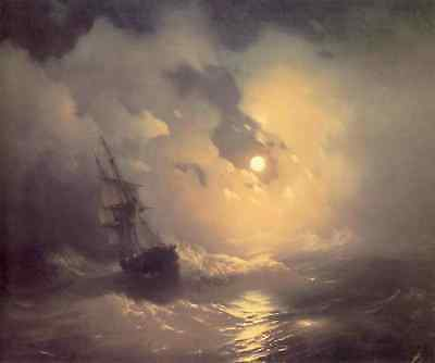 Handmade Oil Painting repro Ivan Aivazovsky Tempest on the sea at night