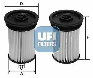 2607100 UFI Fuel Filter Diesel Set Of 2 Replaces S 6071 NE,