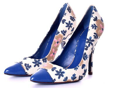 0b6a327cd TORY BURCH Issy Pointed Toe Floral Canvas Patent Cap Toe Pumps Size 7 EUC