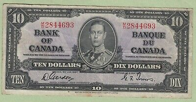1937 Bank of Canada 10 Dollar Note - Gordon/Towers - M/D2844693 - VF
