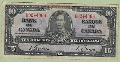 1937 Bank of Canada 10 Dollar Note - Gordon/Towers - L/D9244368 - VF (Graffiti)