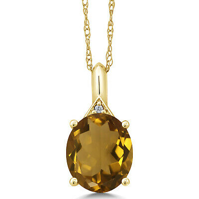 4.02 Ct Oval Whiskey Quartz White Diamond 10K Yellow Gold Pendant