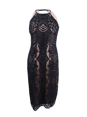 Nightway Women's Open-Back Lace Sheath Dress