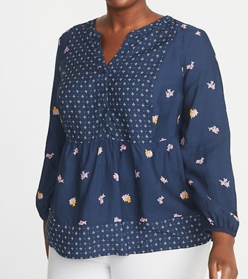 bb181c5703c 2X PLUS SIZE Old Navy Boho Mixed-Print Poet-Sleeve Blouse Top NEW Womens