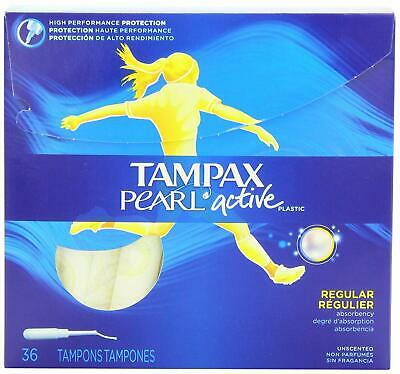 Tampax Active Pearl Regular Unscented Tampons 36 Count Damaged Package B063