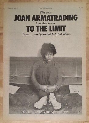 Joan Armatrading to the limit 1978 press advert Full page 28 x 39 cm poster