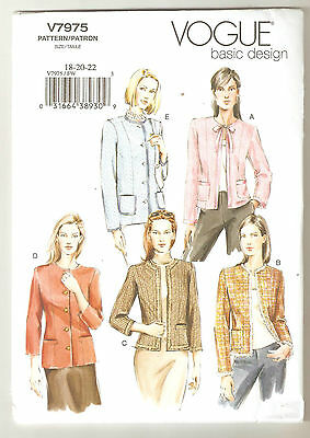 Vogue Sewing Pattern V7975 Miss Petite Lined Jacket Sz 18-22