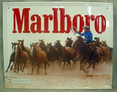 Vintage Marlboro Embossed Tin Sign- White Back With Red Letters & Horses