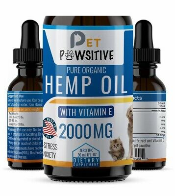 CBD Hemp Oil For Dogs Cats Pets - Calming Drops - Anxiety Relief - 100% Organic