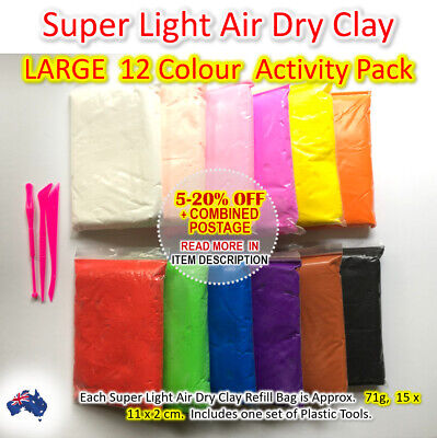 Air Dry Clay Large 12 Colour Activity Pack  Soft Clay Super Light Modeling Clay