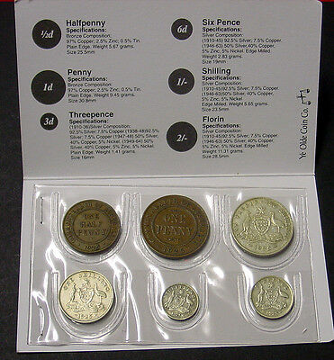 1925 Australian coin set in printed folder. Contains scarce penny.