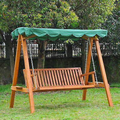 3 Seater Wooden Garden Swing Chair Seat Hammock Bench Furniture Lounger Green