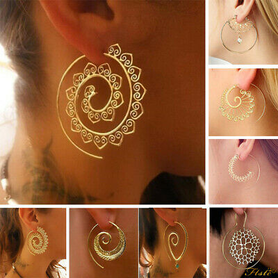 Wholesale Hoops Boho Spiral Brass Gypsy Earrings Tribal Ethnic Festival Indian