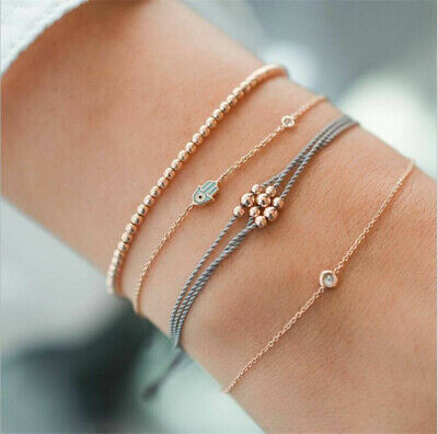 Fashion Women 4Pcs Crystal Evil Eye Adjustable Open Bangle Gold Bracelet Jewelry